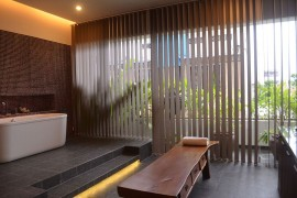 Spacious master bathroom with standalone bathtub