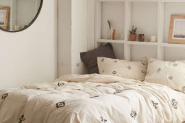 Sparsely decorated bedroom from Urban Outfitters
