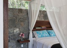 Stone wall of the tropical style bedroom