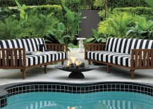 Striped sofas from CB2 217x155 Patio Furniture and Decor Trend: Bold Black  and White