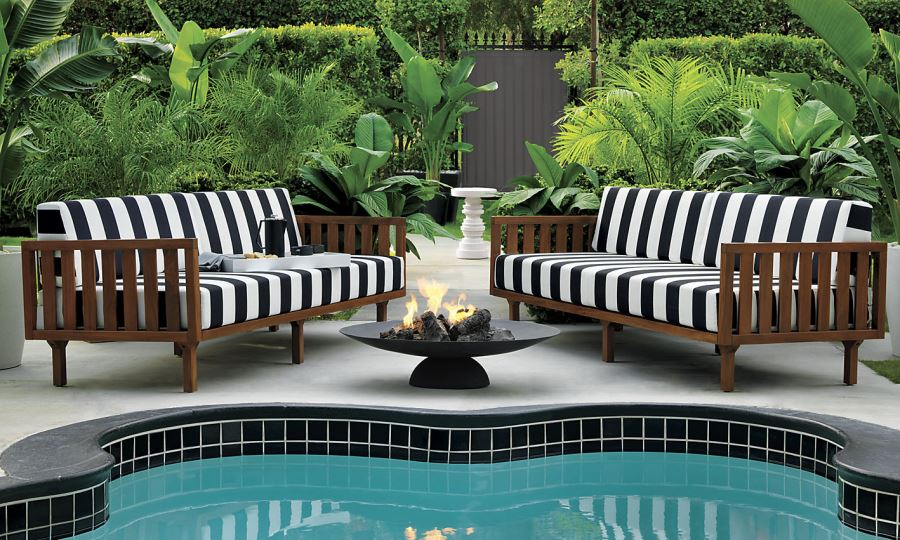 Black And White Outdoor Furniture. View In Gallery Striped Sofas From Cb2  Black And White