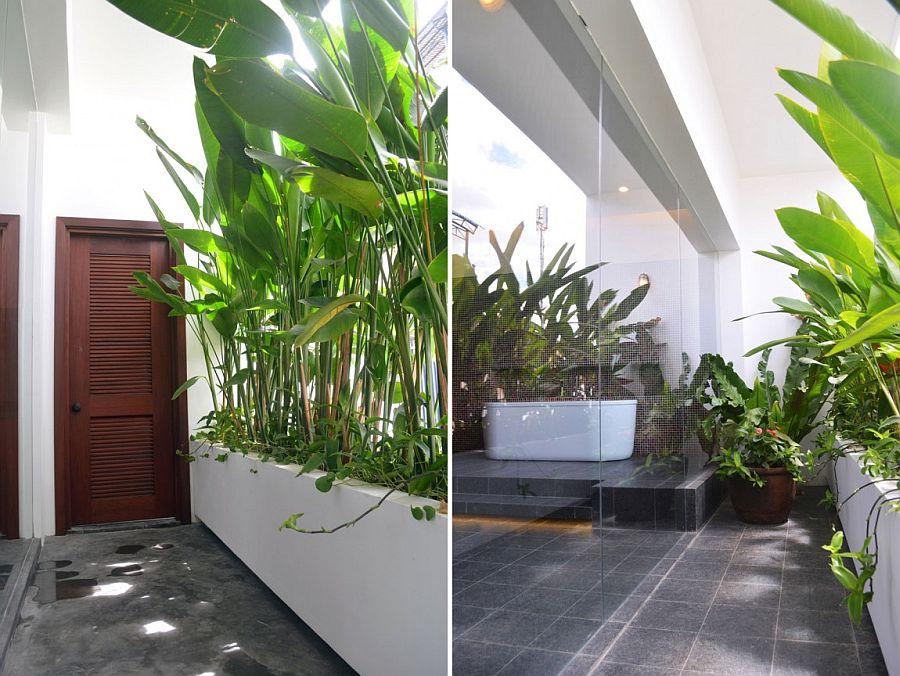 Stunning use of greenery in the modern bathroom