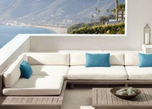 Teak sectional seating from RH Modern 217x155 Space Saving Corner Furniture Finds