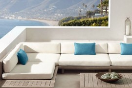 Teak sectional seating from RH Modern