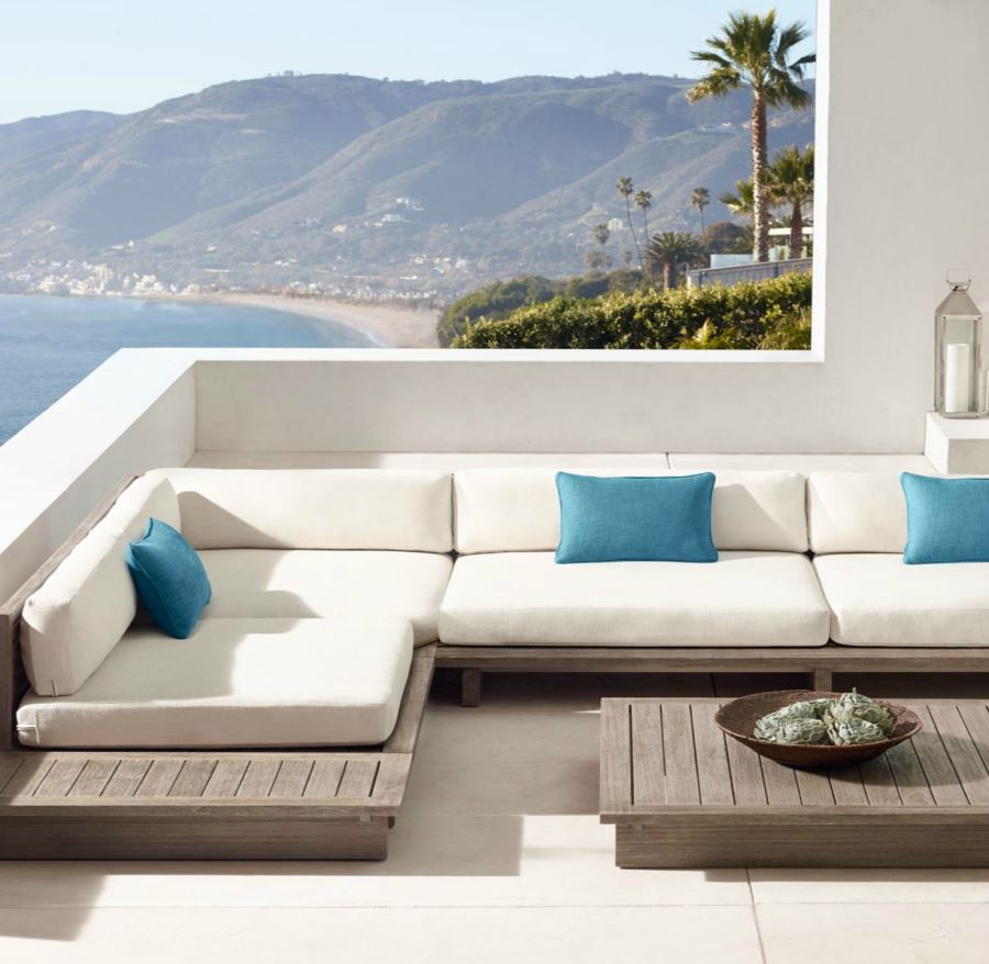 teak sectional seating from rh modern decoist