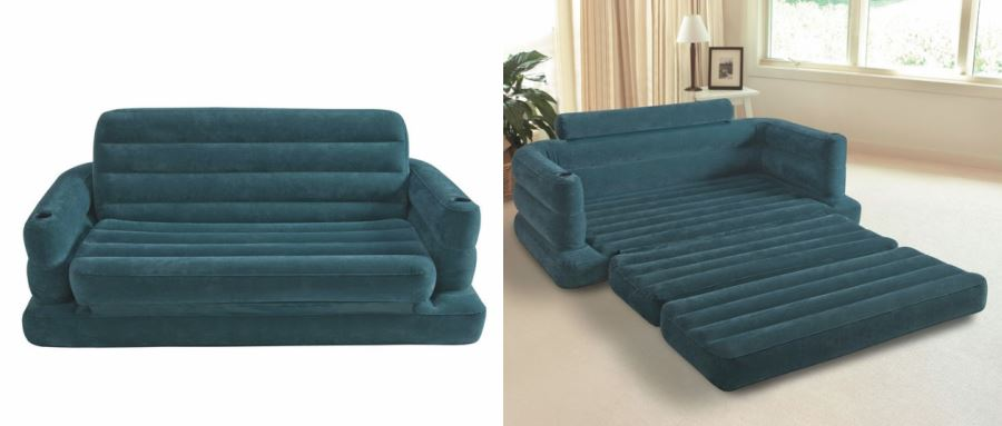 Teal inflatable pull-out sofa