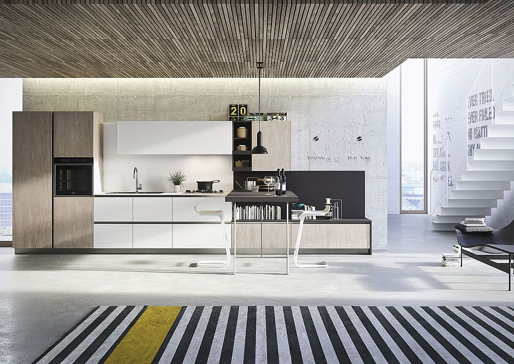Textural beauty of wood combines with polished finsihes inside the minimal kitchen
