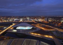 The London Aquatics Centre at night