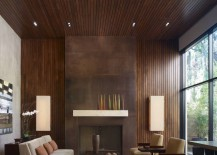 Thin wooden paneling in a modern living room 217x155 20 Rooms with Modern Wood Paneling