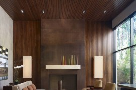 Thin wooden paneling in a modern living room