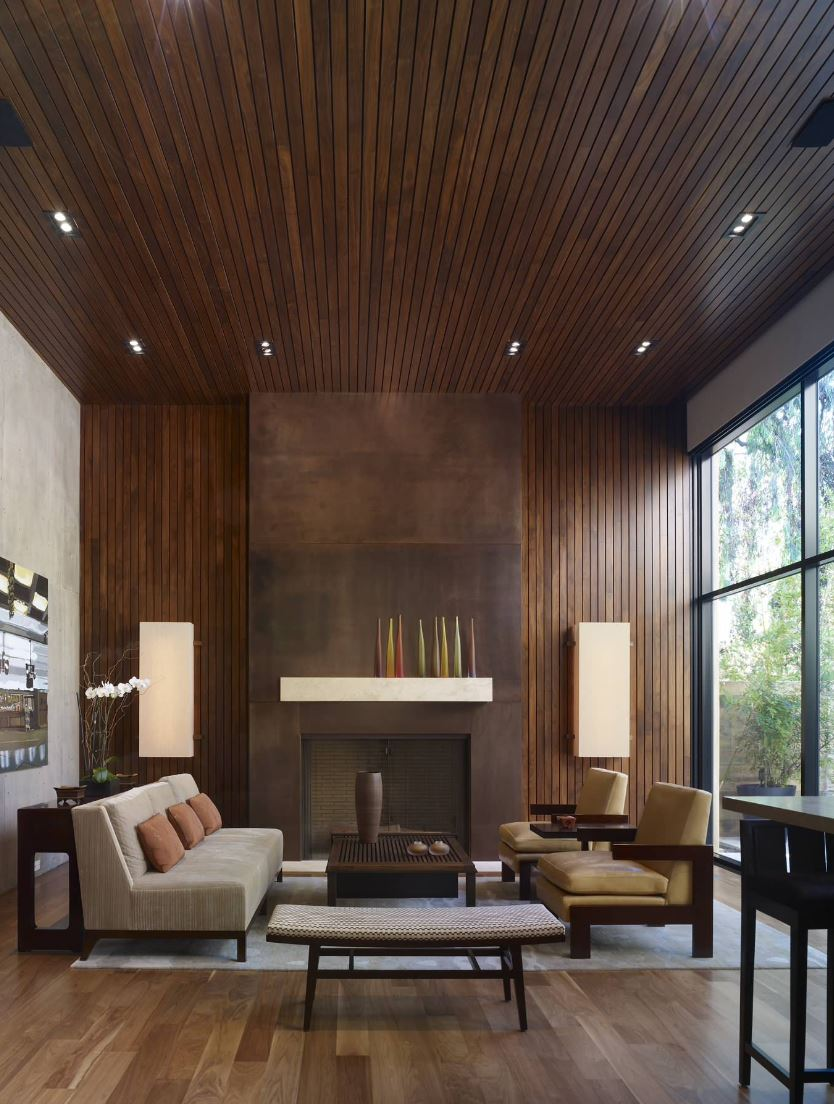 view in gallery thin wooden paneling in a modern living room - Home Wall Interior Design