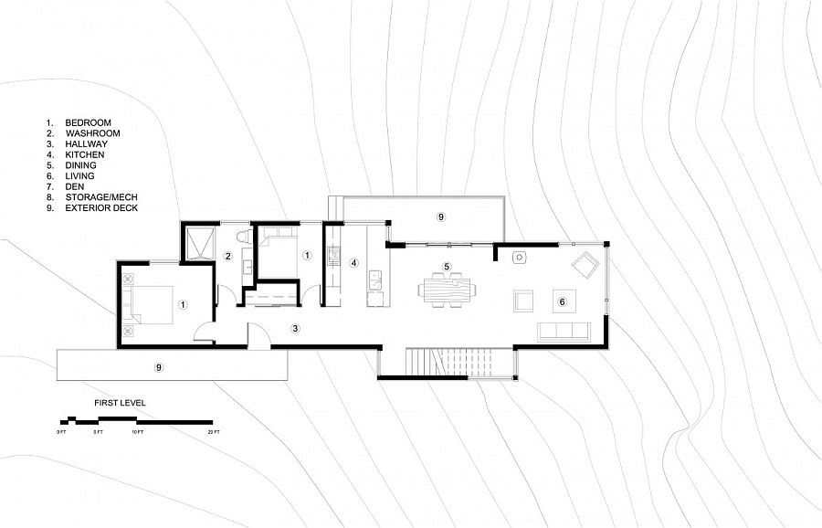 Top level floor plan of family cottage in Gatineau hills