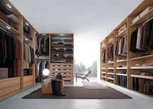 Touch of wood adds warmth to the exapnsive walk-in closet
