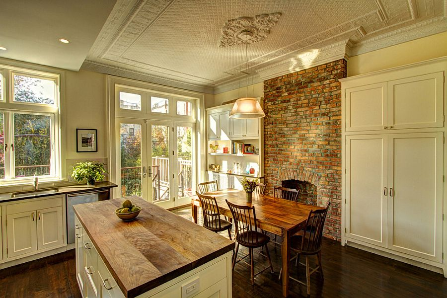 Traditional kitchen and dining area with brick wall and a fabulous ceiling [Design: Ben Herzog / Photography: Marco Valencia]