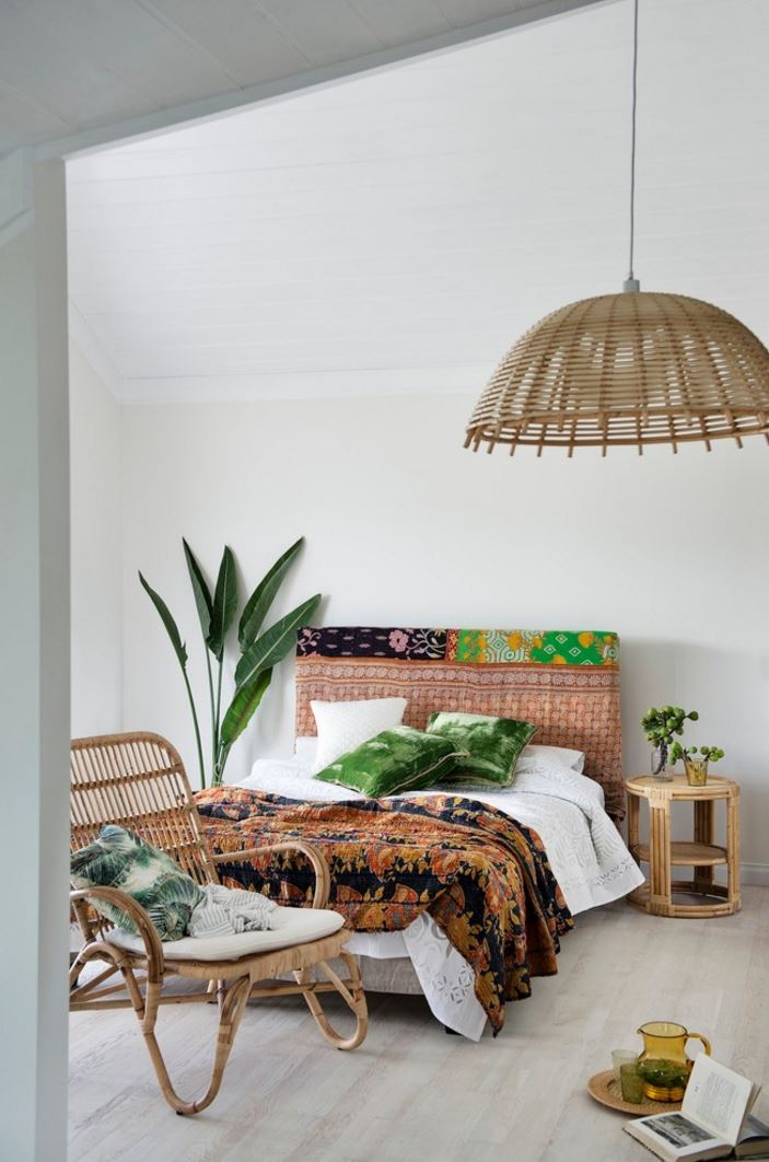Tropical bedroom with fresh greenery