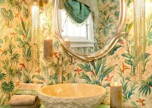 Tropical-powder-room-with-turquoise-vanity-glittering-lighting-and-bold-wallpaper-217x155