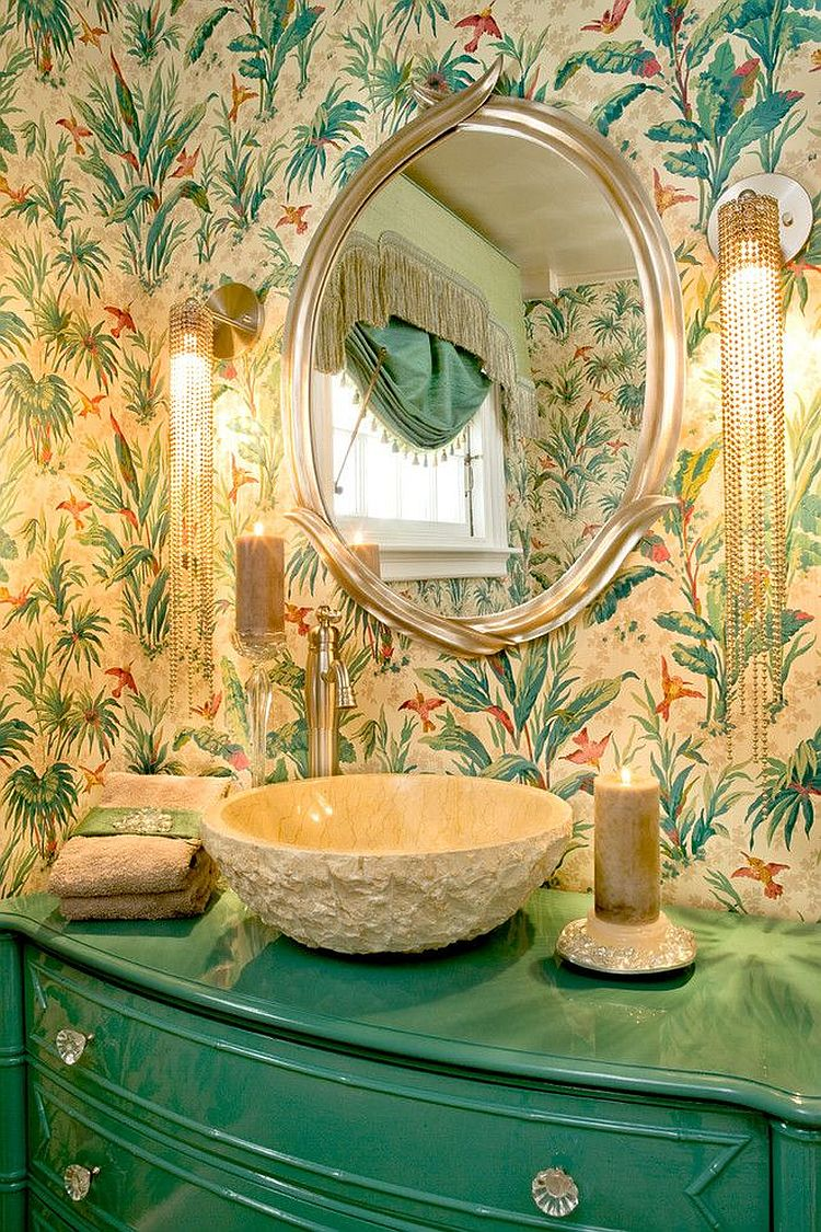 Tropical powder room with turquoise vanity, glittering lighting and bold wallpaper [Design: Cynthia Mason Interiors]