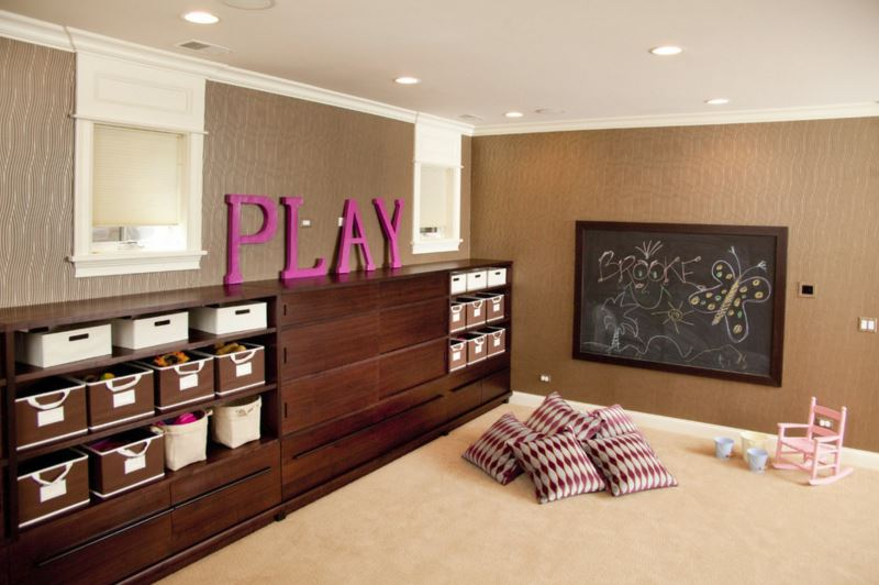 Vibrant letters in a family playroom