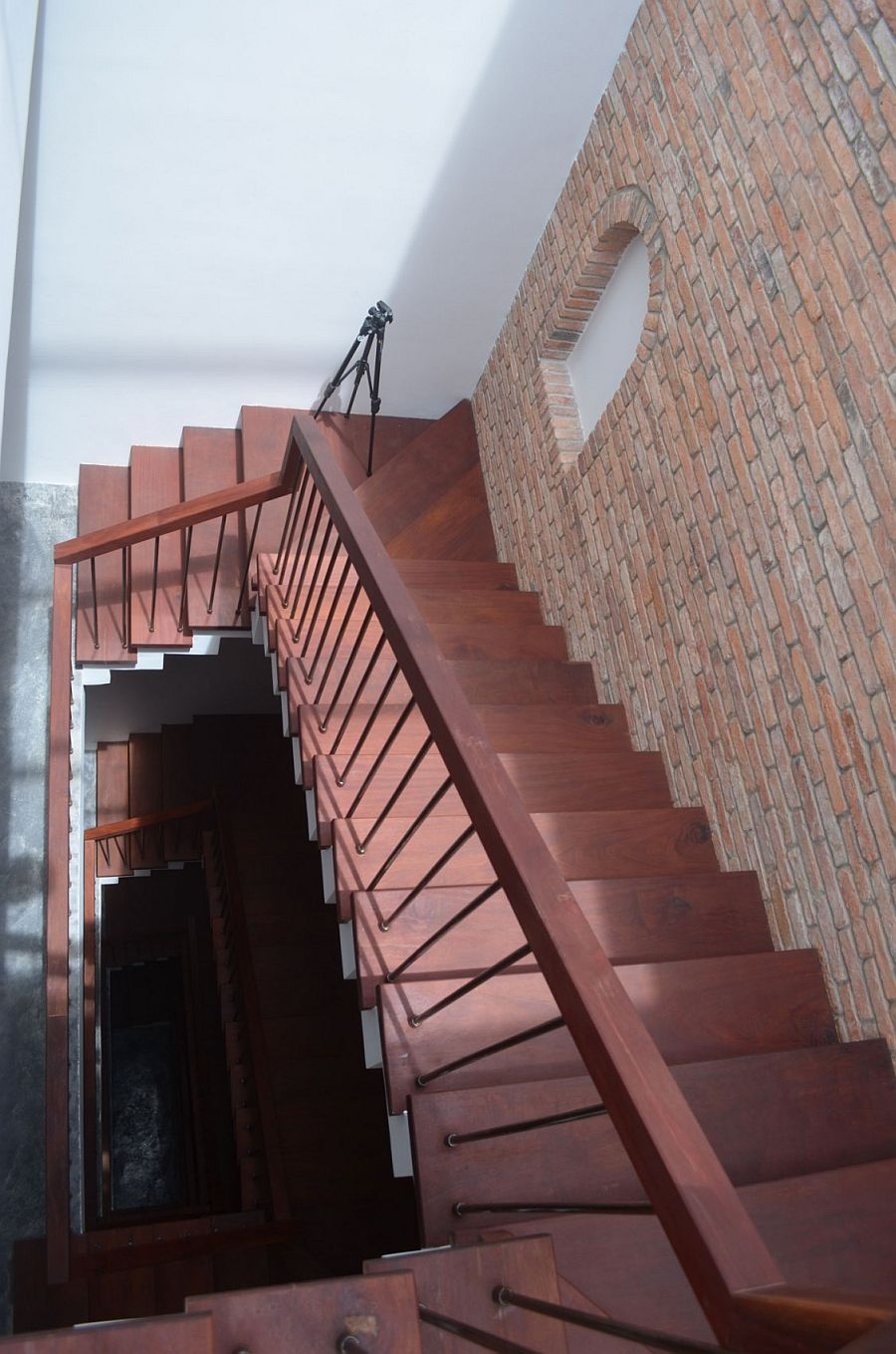 View of the staircase from the top level