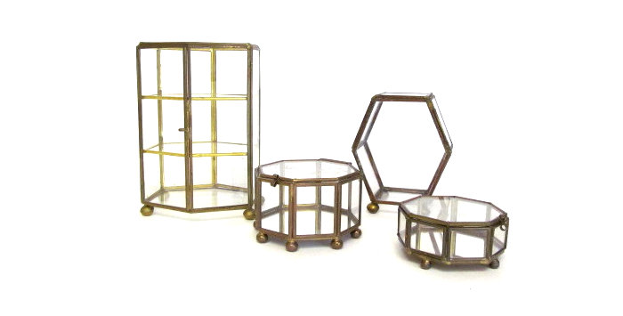 Vintage glass and brass boxes