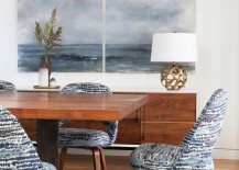 Wall art ushers in an image of tranquility inside the dining room