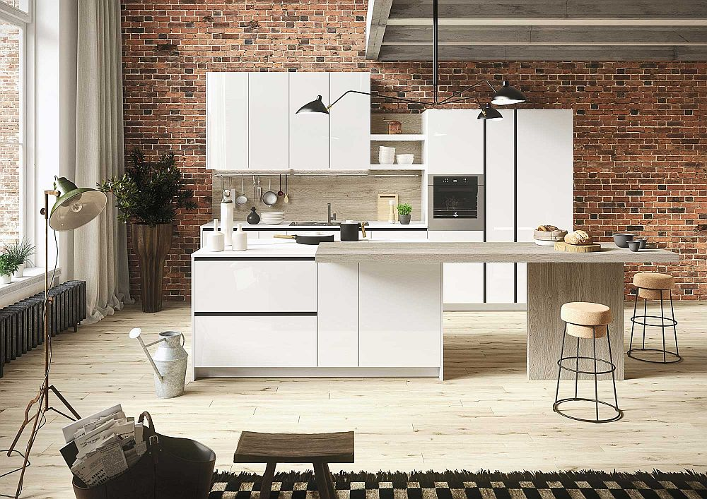 White is the color of choice inside the chic First First Kitchen: Modular Freedom Wrapped in Casual Minimalism