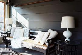 Wide horizontal wooden paneling