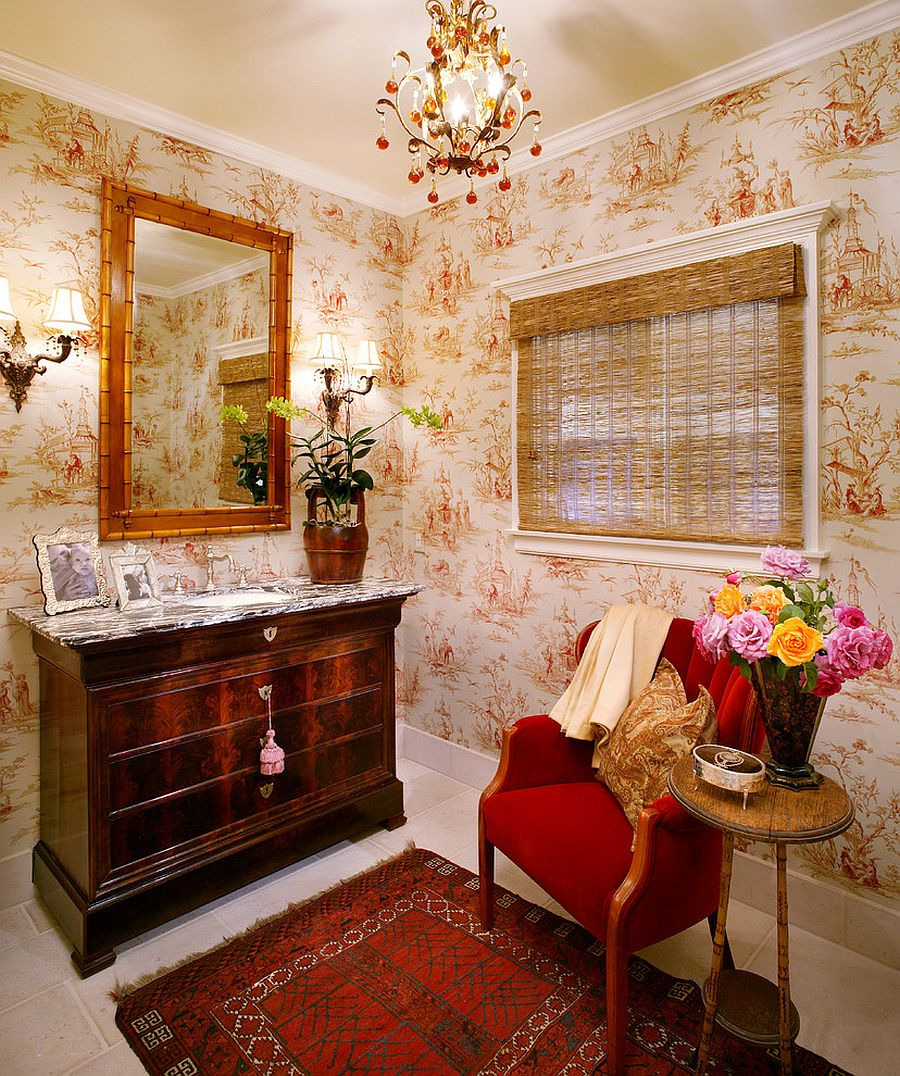 Window blind bamboo mirror frame and wallpaper set the mood in this powder room Hot Summer Trend: 25 Dashing Powder Rooms with Tropical Flair