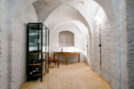 Wine cellar and tasting area with rustic-Mediterranean style