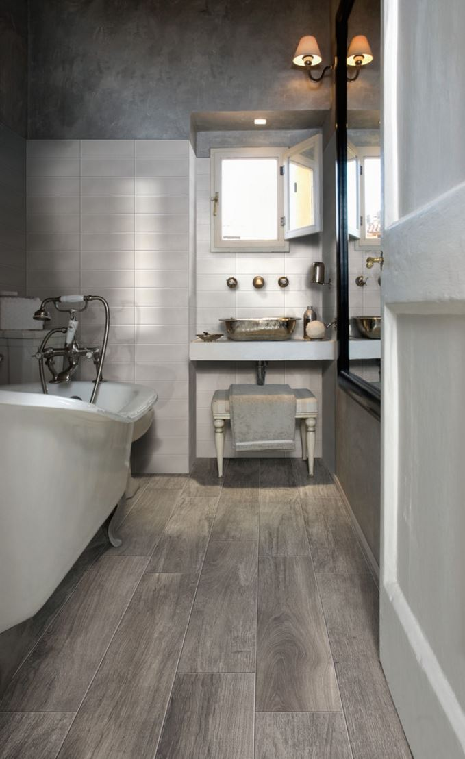 View in gallery Wood-effect porcelain for the powder room