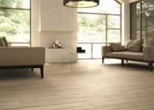 Wood effect porcelain tile in the living room 217x155 Decorating with Porcelain and Ceramic Tiles That Look Like Wood