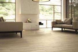 Wood-effect porcelain tile in the living room