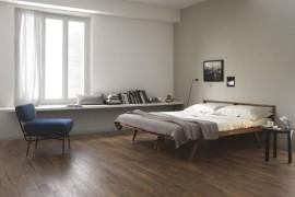 Wood-effect tile in a modern bedroom