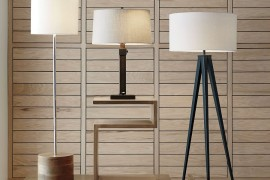 Wood paneling behind a collection of lamps