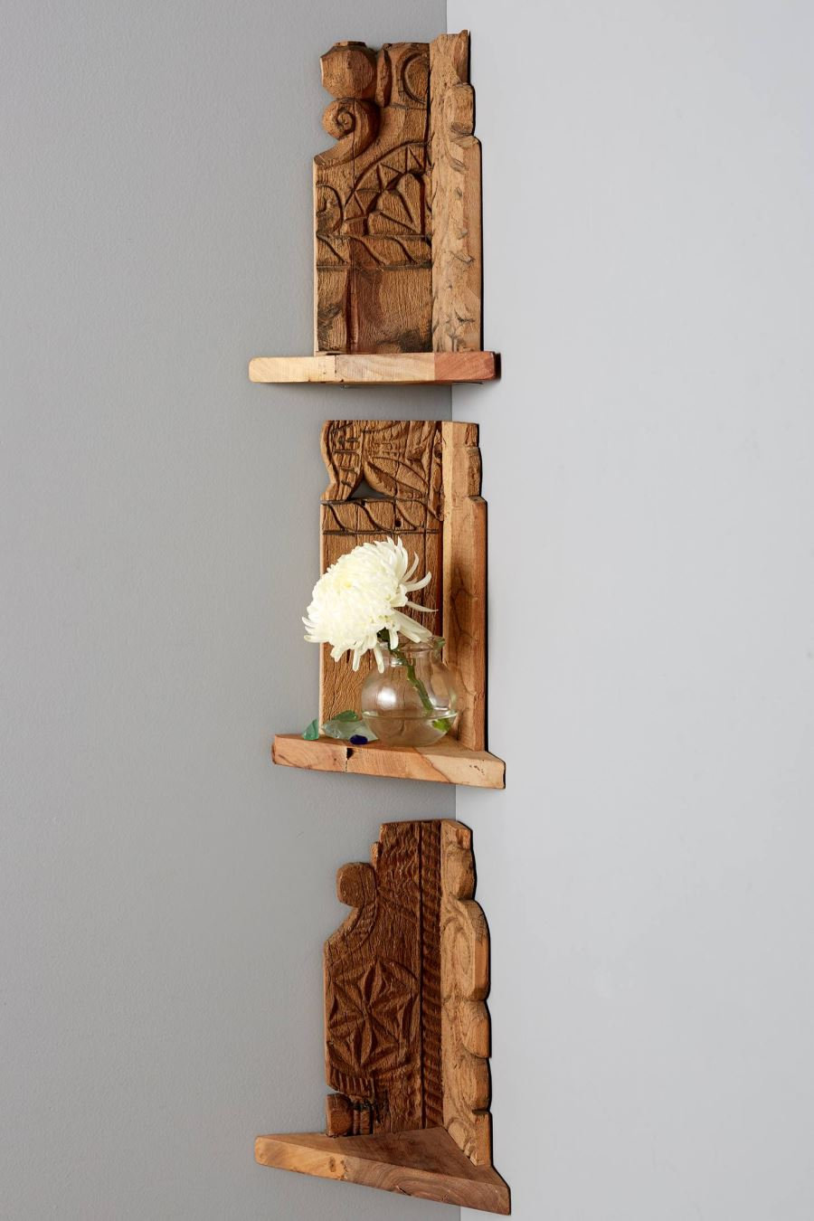 Wooden corner shelf from Anthropologie