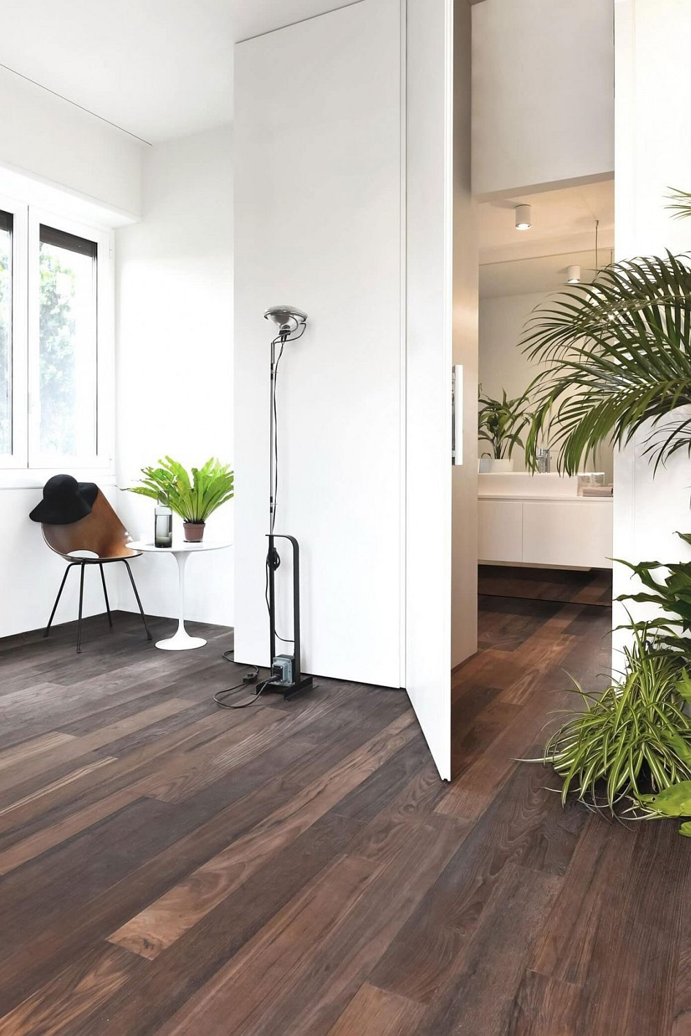 Wooden floors add textural beauty to the interior