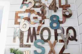 Wooden letters create a modern rustic touch