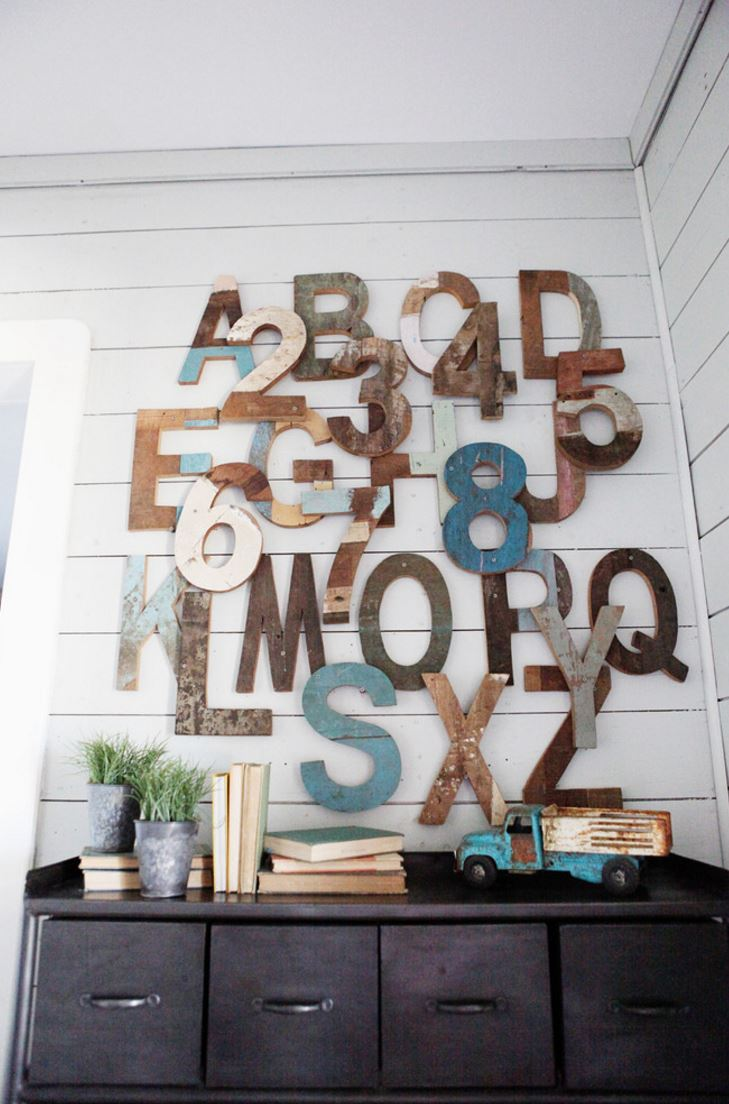 Decorating with wooden letters view in gallery wooden letters create a modern rustic touch ppazfo