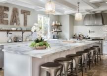 Wooden letters in a modern bistro kitchen