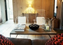 Wooden panels create a modern cabin feel