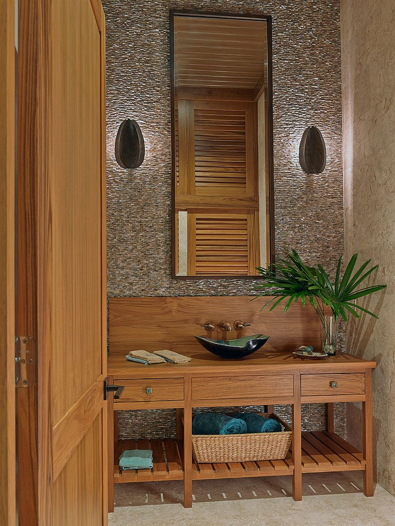 Wooden vanity adds a relaxing vibe to the powder room [Design: Ruffino Cabinetry]