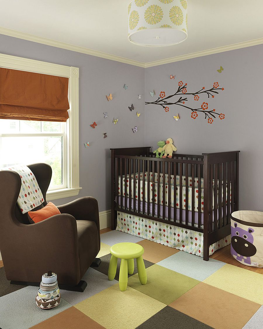 3D butterflies are an easy and convenient way to bring alive the nursery walls [Design: Rachel Reider Interiors]