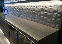 3D geometric tiled backsplash for the kitchen