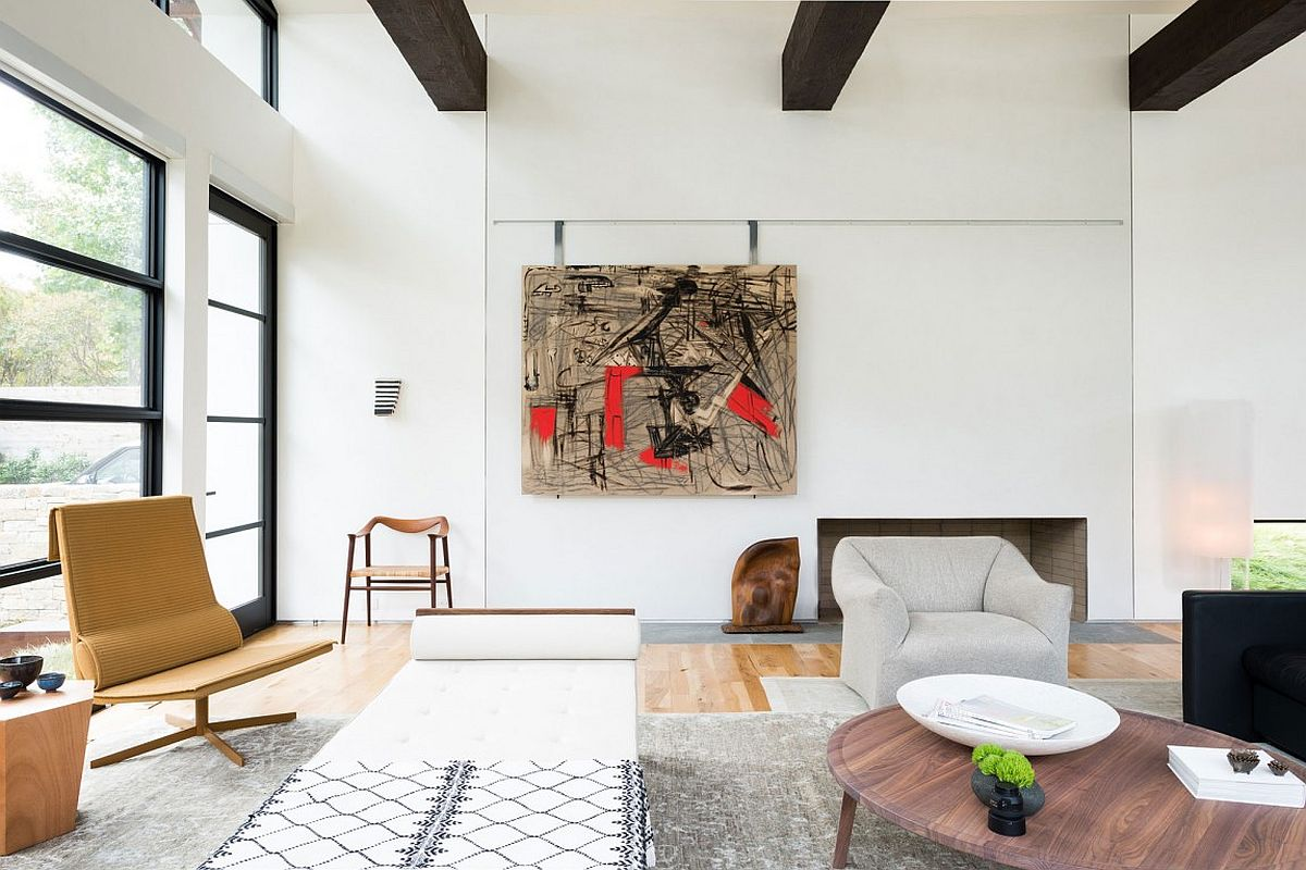 Abstract art piece adds color to the neutral interior