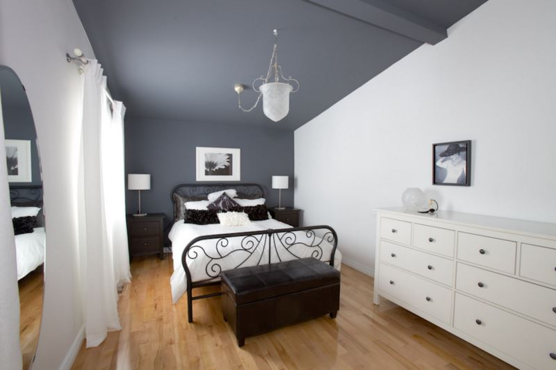 White Bedroom Grey Accent Wall