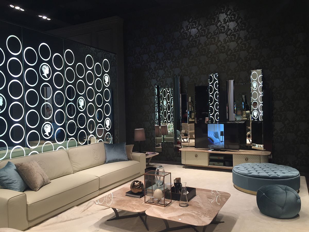 Alberta sofas in a glitzy and fashionable setting - Salone del Mobile 2016