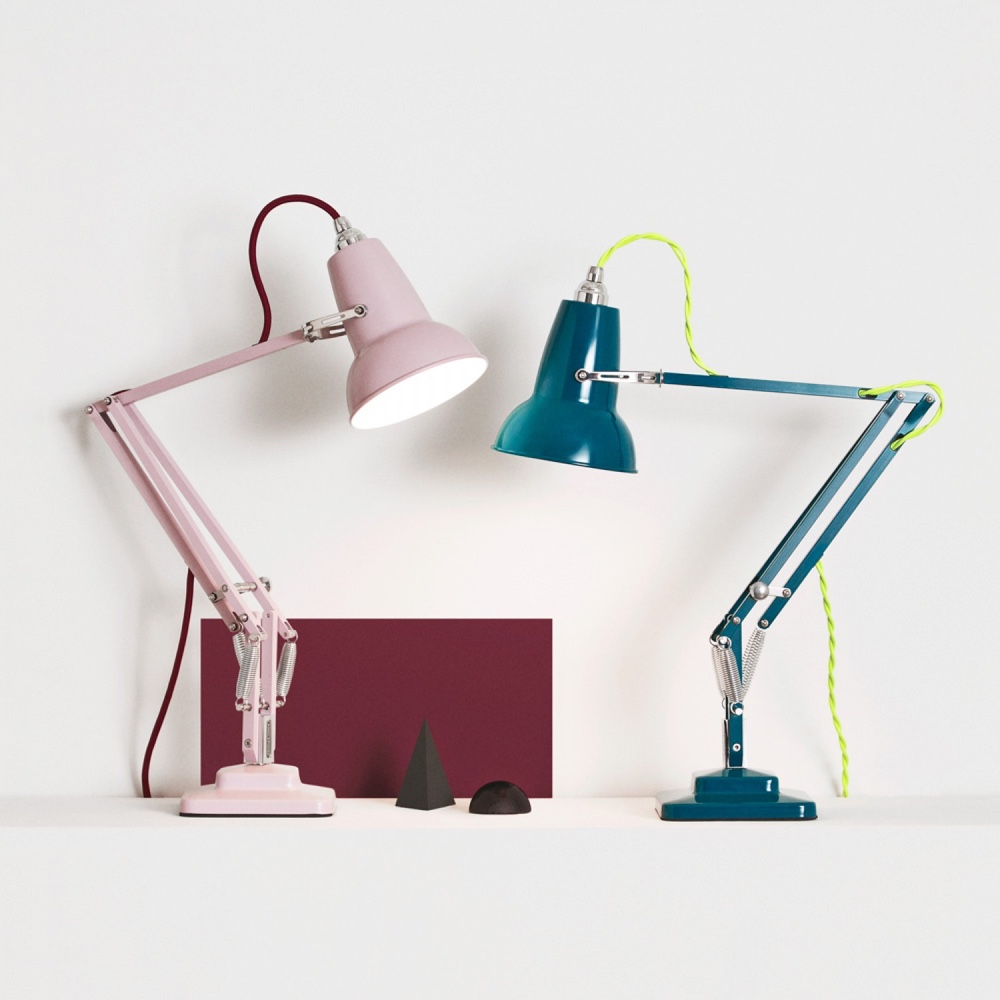 Original 1227™ Mini Studio Editions: Pink base, arm and shade with a burgundy cable;tealbase, arm and shade with a neon yellow twistedcable.