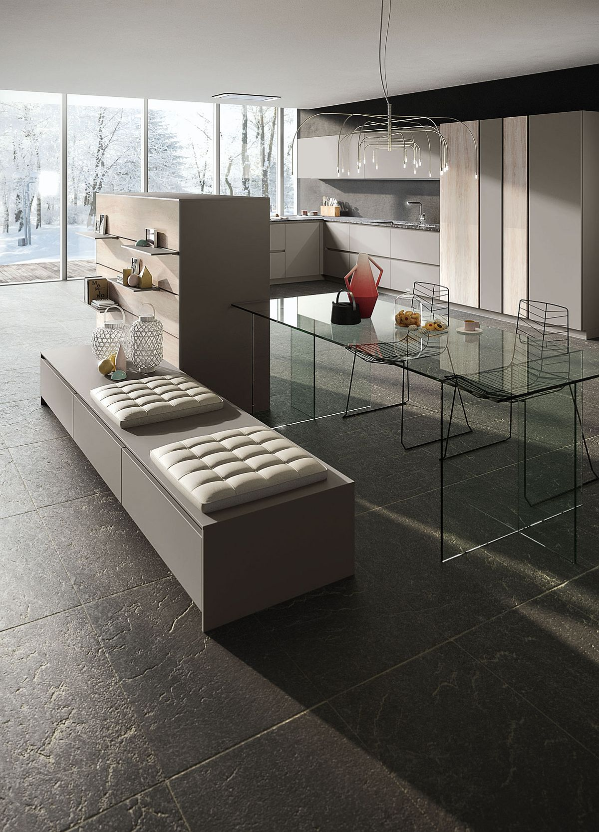 Base and cupboard units with distinctive minimal style
