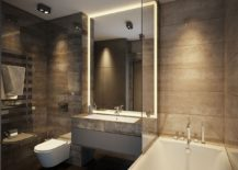 Bathroom of the Kiev apartment embraces the hotel-inspired look