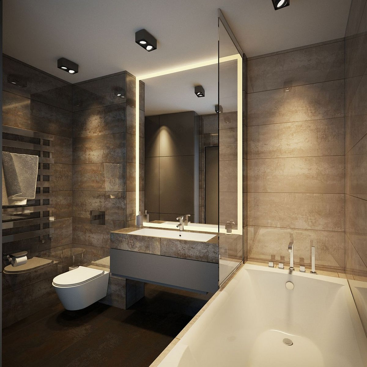 Apartment ernst in kiev inspired by posh hotel ambiance for Apartment bathroom ideas